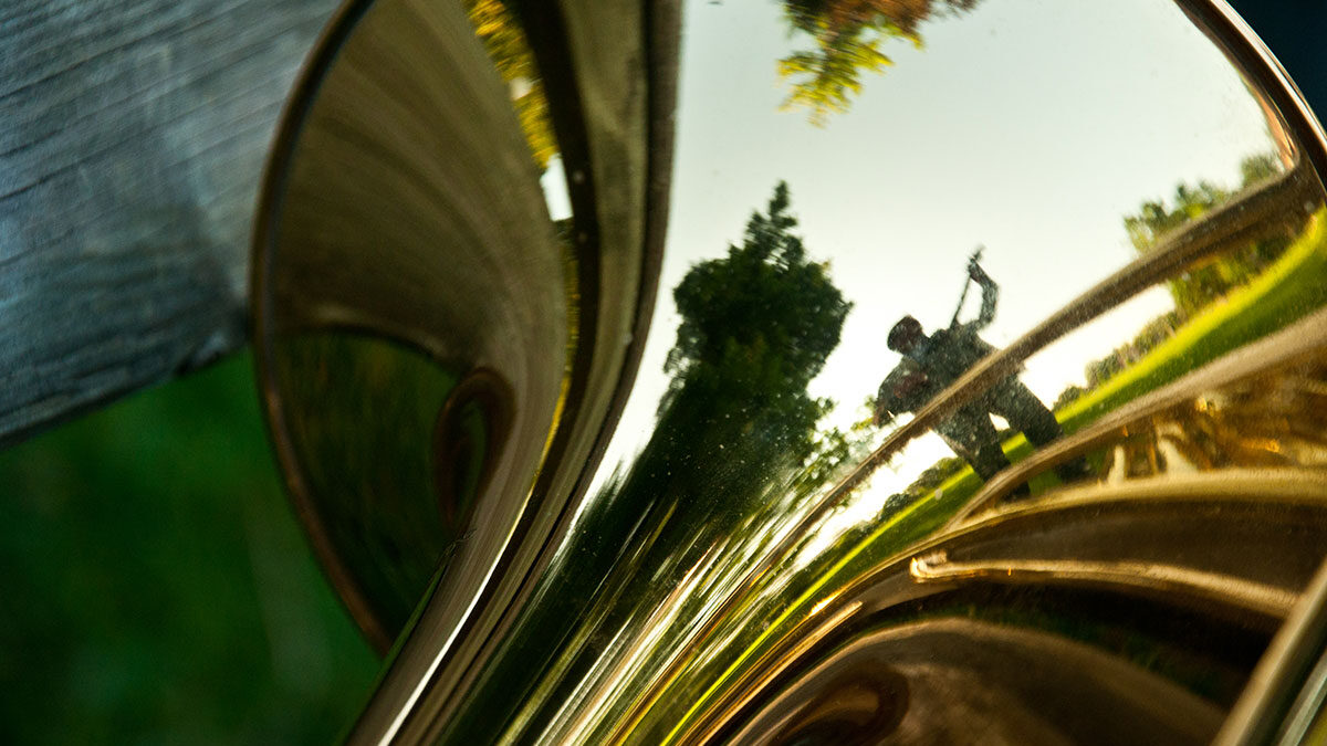 Mike Herriott in trumpet reflection