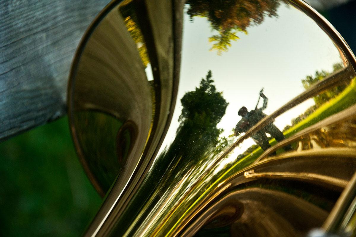 Mike Herriott reflection in trumpet